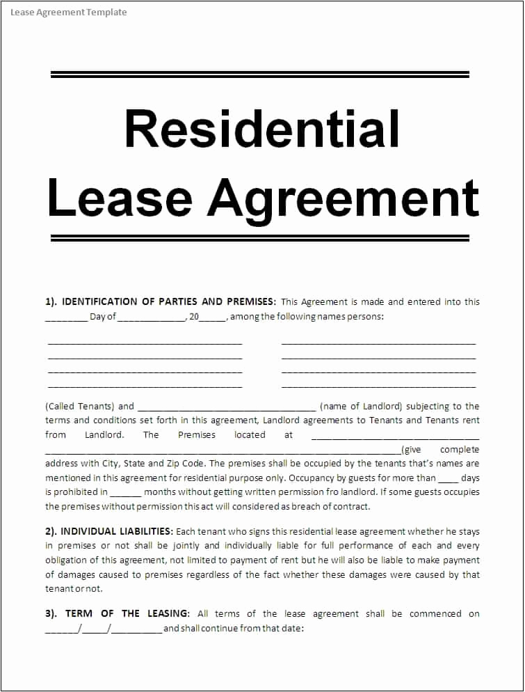 Rental Agreement Template Word Inspirational 10 Apartment Rental Lease Agreement form Word Trainingable