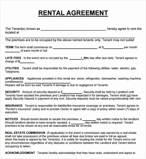 Rental Agreement Template Word Lovely 20 Rental Agreement Templates Word Excel Pdf formats