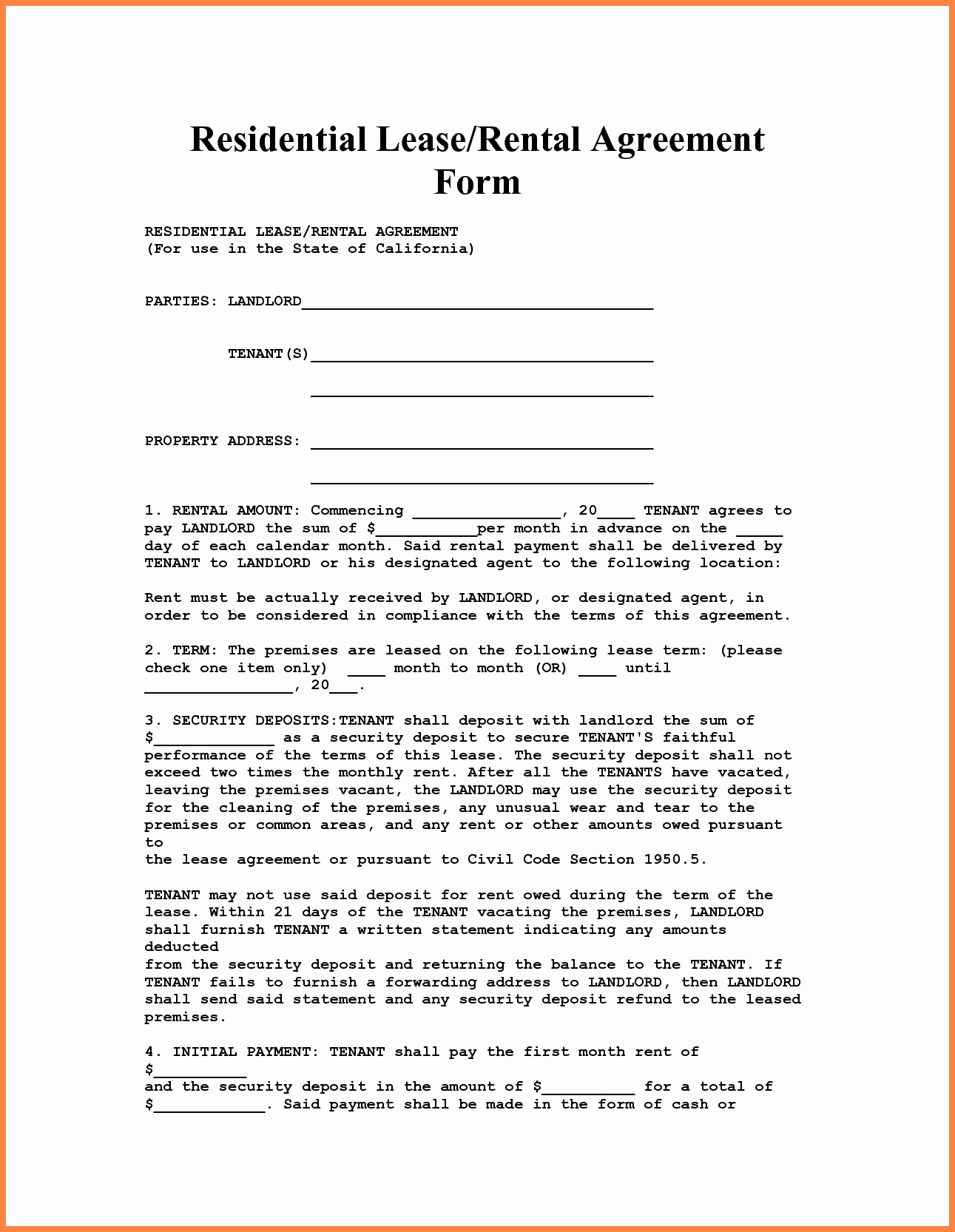 Rental Agreement Template Word Lovely 4 Apartment Lease Agreement Template Word