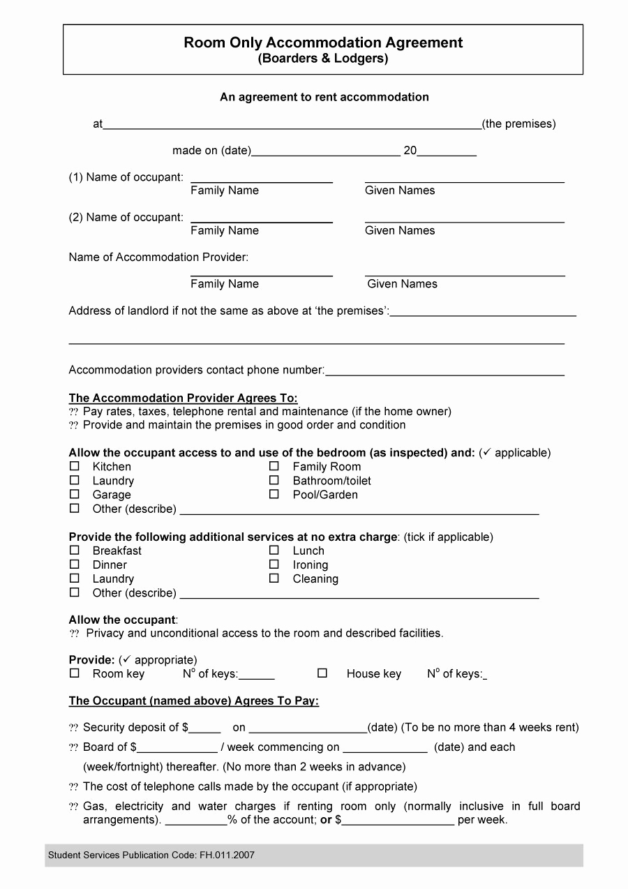Rental Agreement Template Word Lovely 40 Free Roommate Agreement Templates & forms Word Pdf