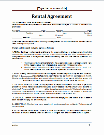 Rental Agreement Template Word Unique Ms Word Rental Agreement Template