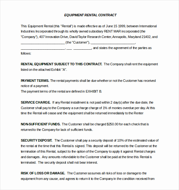 Rental Agreement Template Word Unique Rental Agreement Template – 20 Free Word Excel Pdf