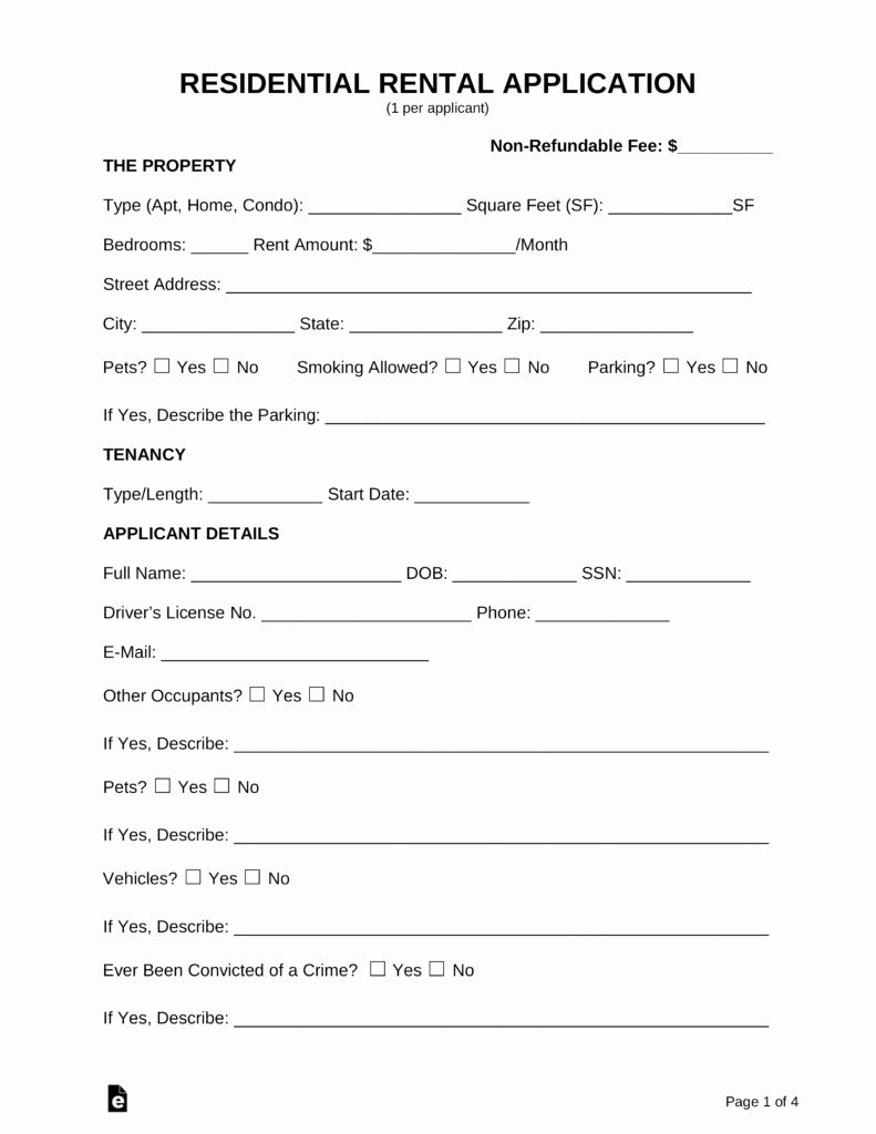 Rental Application form Doc Best Of Free Rental Application form Pdf Word