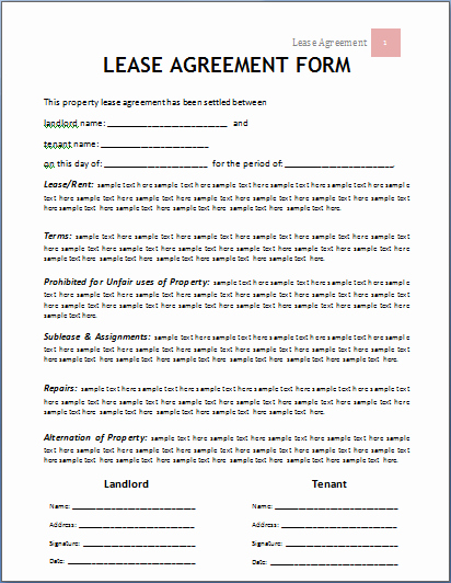 Rental Application form Doc Fresh Ms Word Lease Agreement form Template