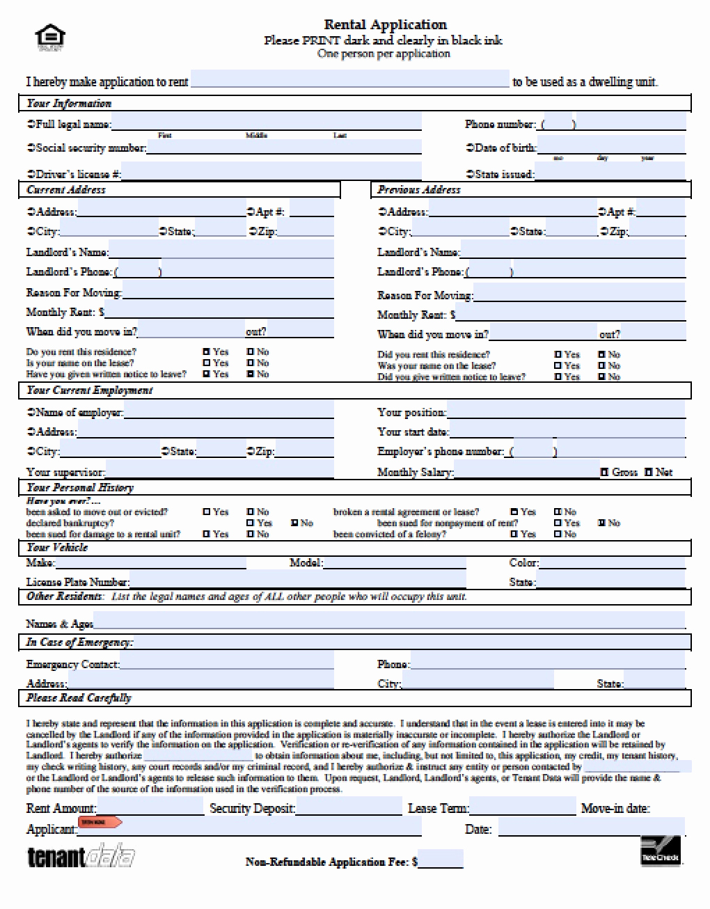 Rental Application form Doc Lovely Free Hawaii Rental Application Pdf