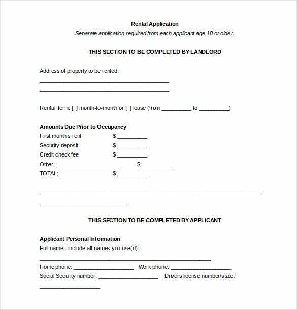 Rental Application form Doc Luxury 10 Free Download Rental Application Templates