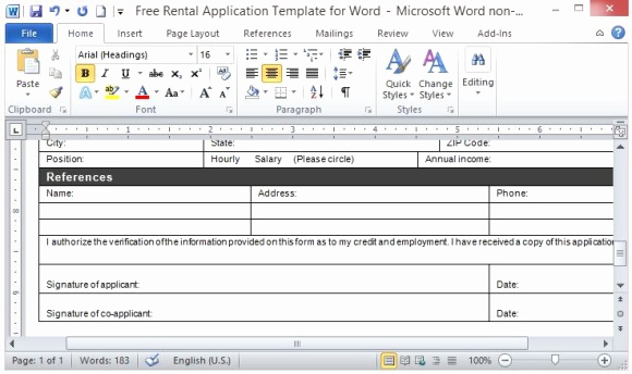 Rental Application form Doc New Free Rental Application Template for Word