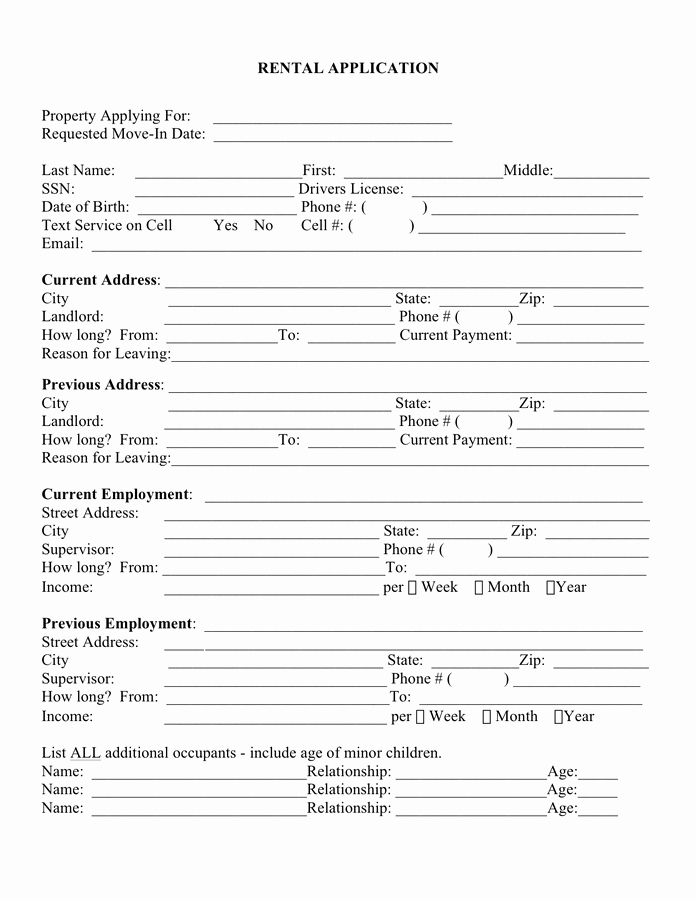 Rental Application form Doc New Rental Application Template Free Documents for