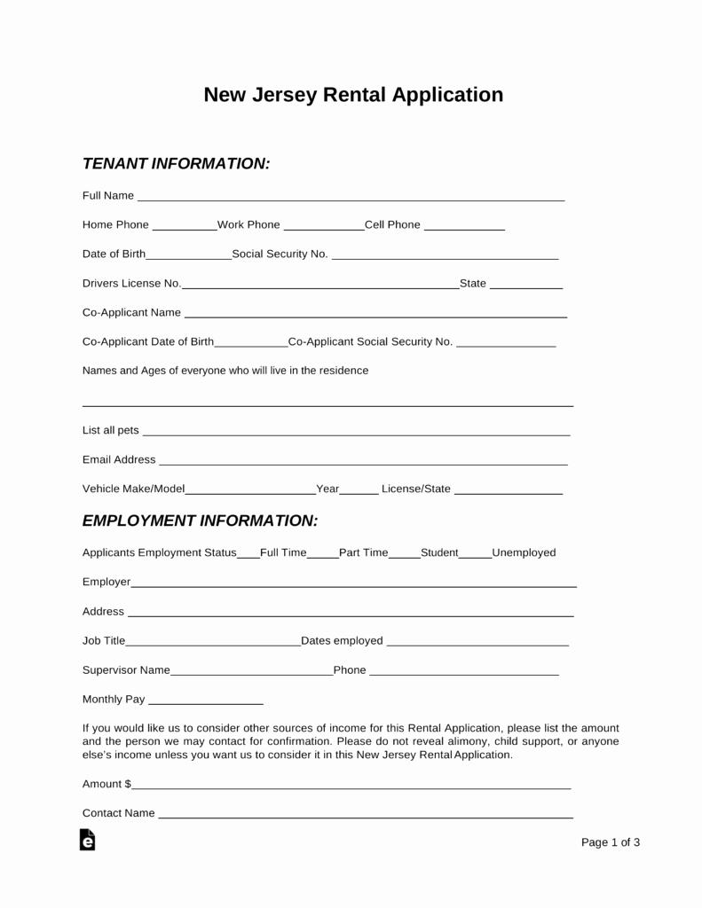 Rental Application form Pdf Beautiful Free New Jersey Rental Application form Pdf