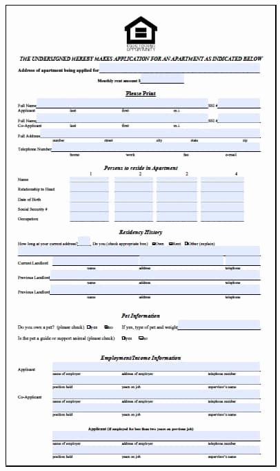 Rental Application form Pdf Fresh Free Illinois Rental Application form – Pdf Template