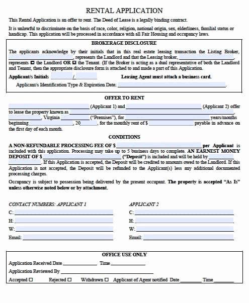 Rental Application form Pdf Fresh Free Virginia Rental Application form – Pdf Template