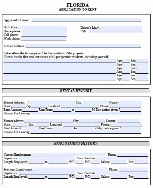 Rental Application forms Pdf Elegant Free Florida Rental Application – Pdf Template