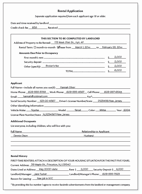 Rental Application forms Pdf Inspirational Sample Rental Application
