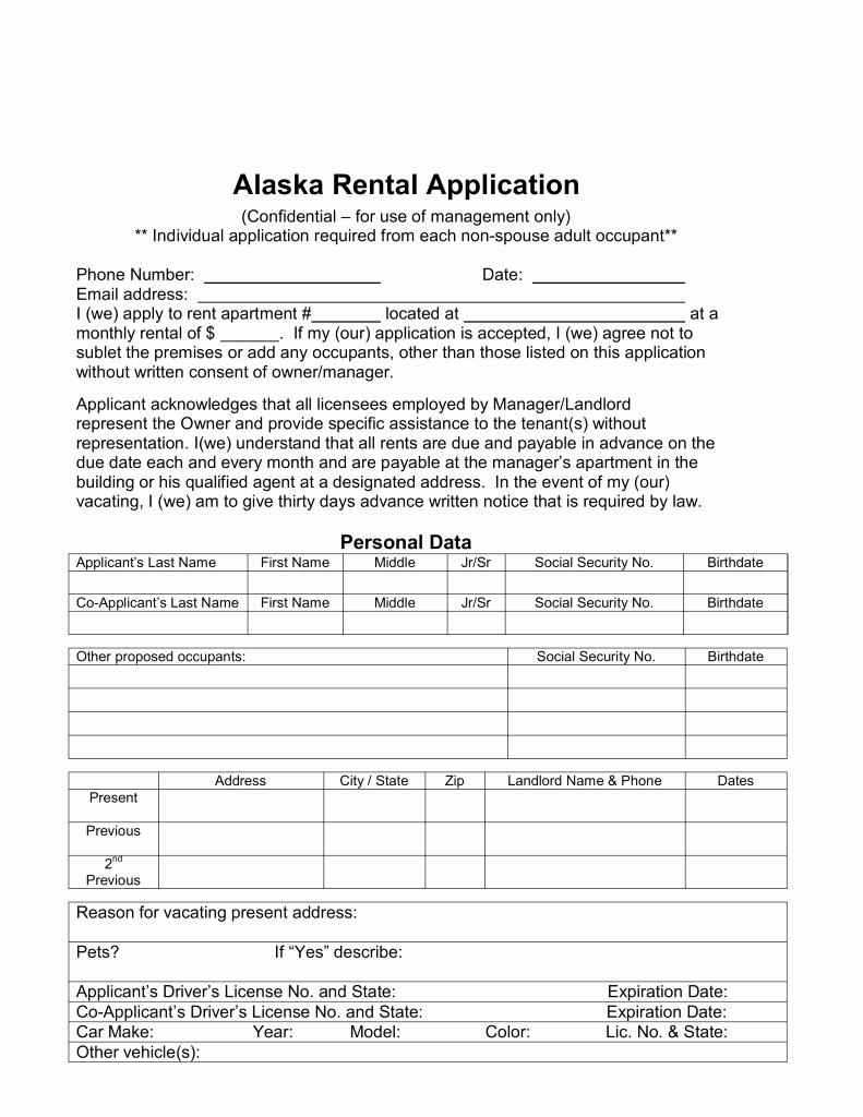 Rental Application forms Pdf Lovely Free Alaska Rental Application form Word Pdf