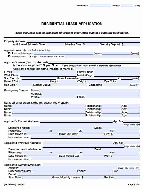 Rental Application forms Pdf Lovely Free Texas Rental Application form – Pdf Template