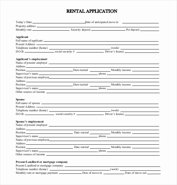 Rental Application forms Pdf Lovely Rental Application Template – 10 Free Word Pdf Documents