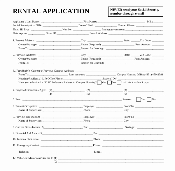 Rental Application forms Pdf New Rental Application Template – 12 Free Word Pdf Documents