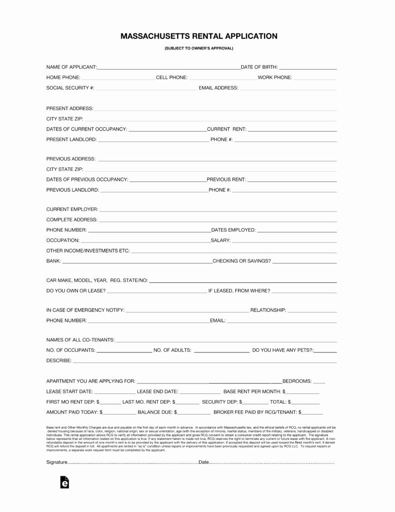 Rental Application Pdf Fillable Awesome Free Massachusetts Rental Application form Pdf