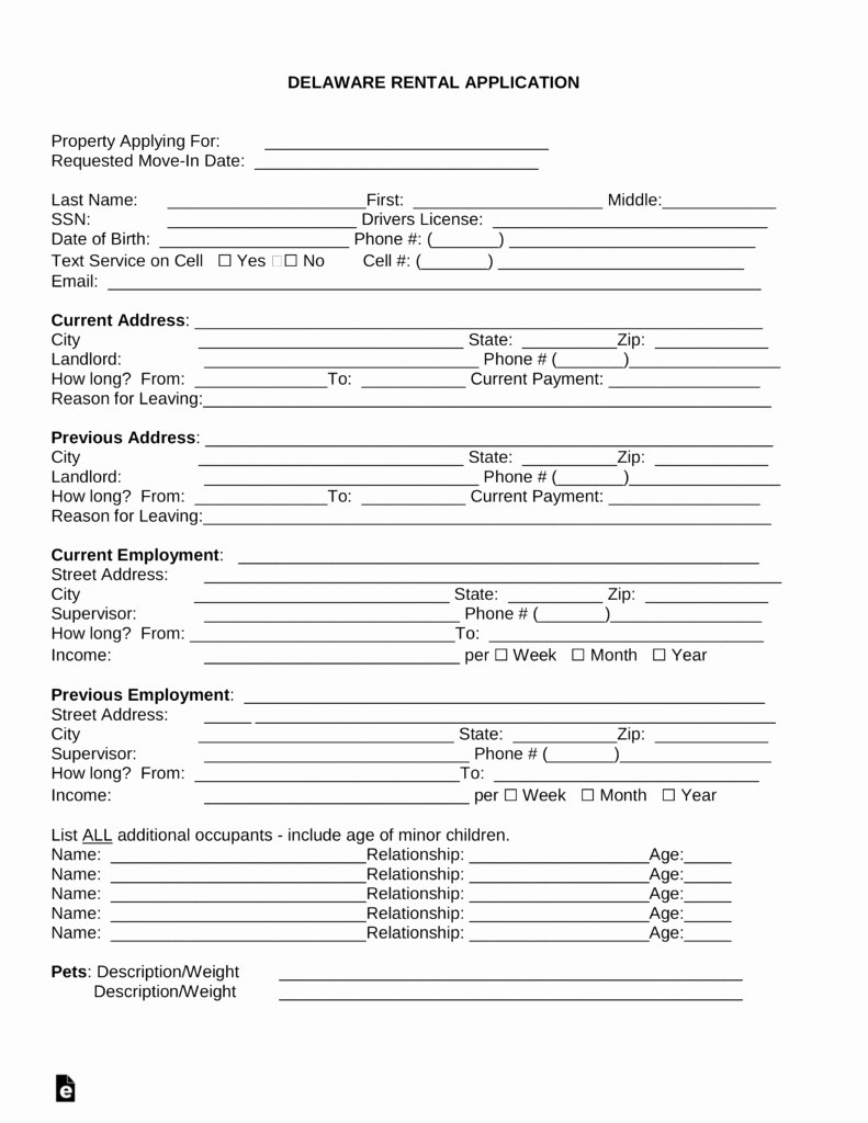Rental Application Pdf Fillable Elegant Free Delaware Rental Application Template Word