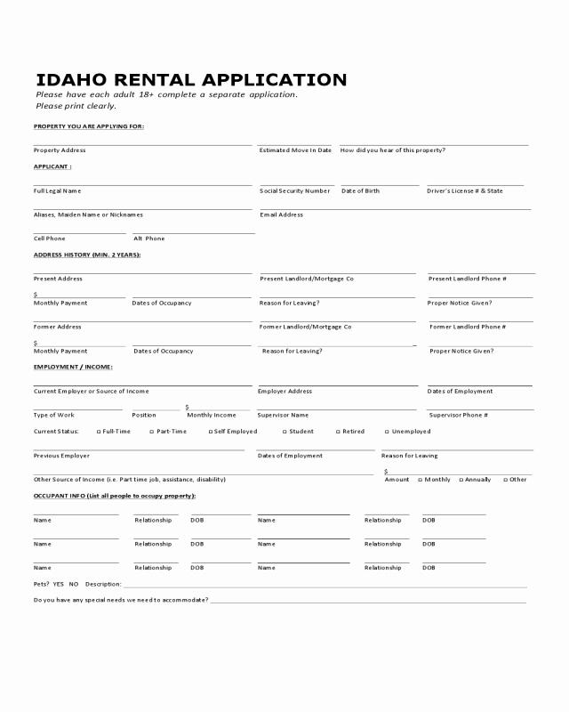 Rental Application Pdf Fillable Fresh Idaho Standard Rental Application Edit Fill Sign