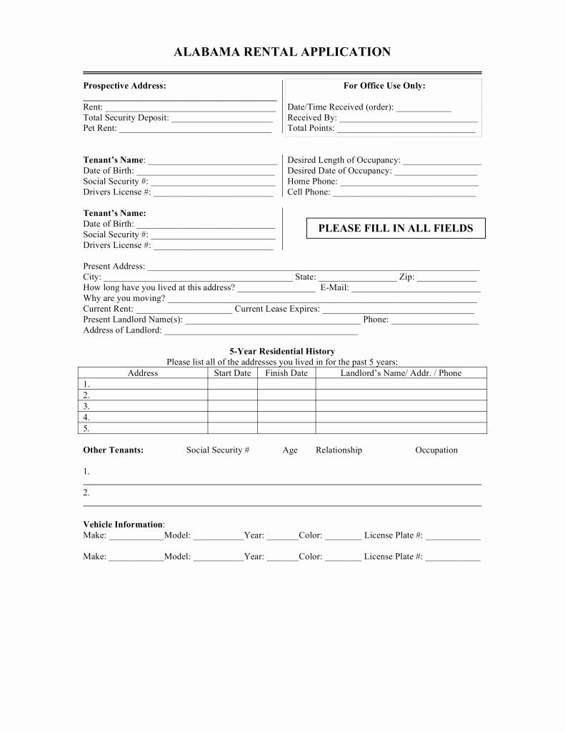 Rental Application Pdf Fillable Inspirational Free Alabama Rental Application form Word Pdf