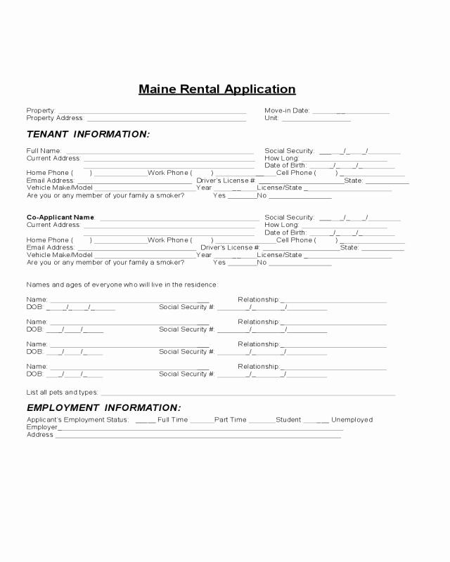 Rental Application Pdf Fillable Unique Maine Rental Application Edit Fill Sign Line