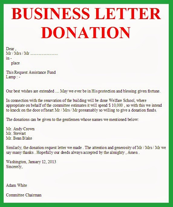 Request for Donations Letter Inspirational Business Letter March 2014