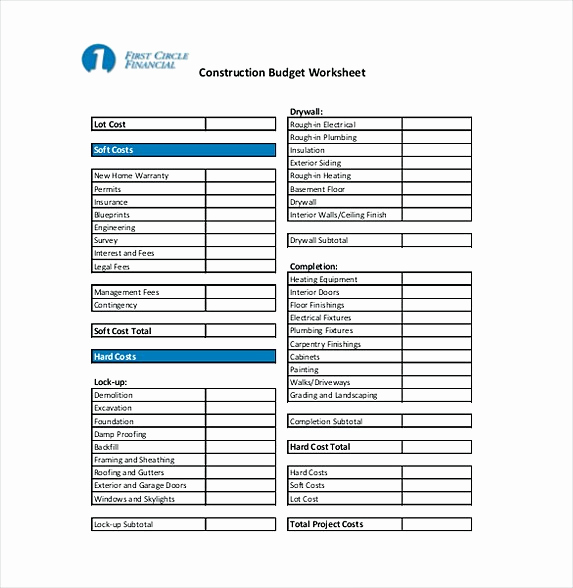Residential Construction Budget Template Excel Awesome 9 Construction Bud Template