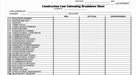 Residential Construction Budget Template Excel Best Of Pin by Angie Brooks On Construction forms In 2019