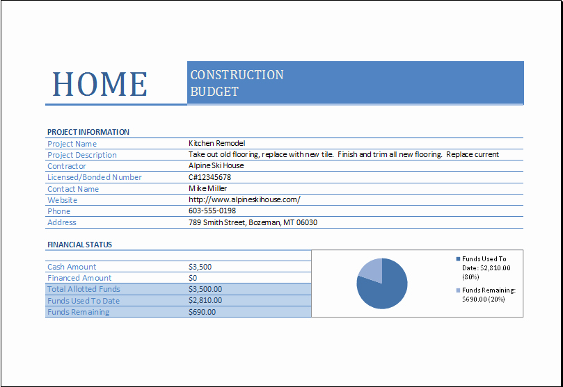 Residential Construction Budget Template Excel Lovely Home Construction Bud Worksheet for Excel