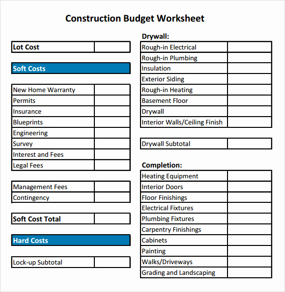 Residential Construction Budget Template Excel New 11 Construction Bud Samples Word Pdf Excel