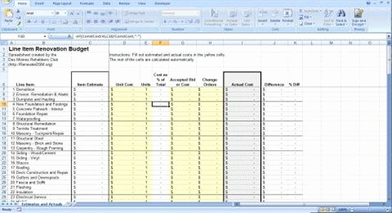 Residential Construction Budget Template Excel Unique Renovation Construction Bud Spreadsheet Implementing