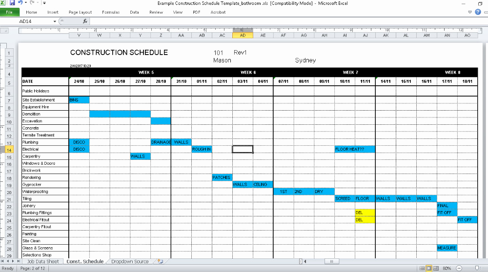 Residential Construction Schedule Template Excel Fresh Construction Schedule Template