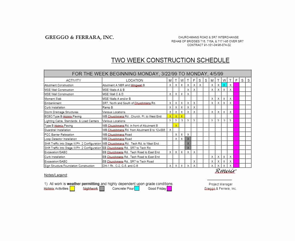 Residential Construction Schedule Template Excel Lovely 21 Construction Schedule Templates In Word & Excel