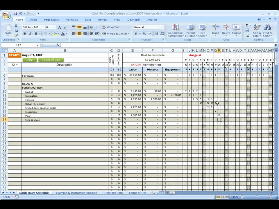 Residential Construction Schedule Template Excel New Construction Cost to Plete Using Excel