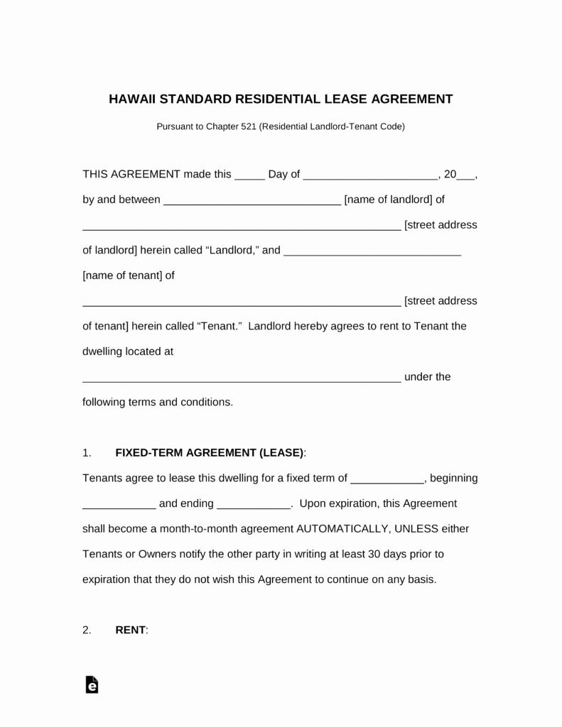 Residential Rental Agreement form Beautiful Free Hawaii Standard Residential Lease Agreement Template
