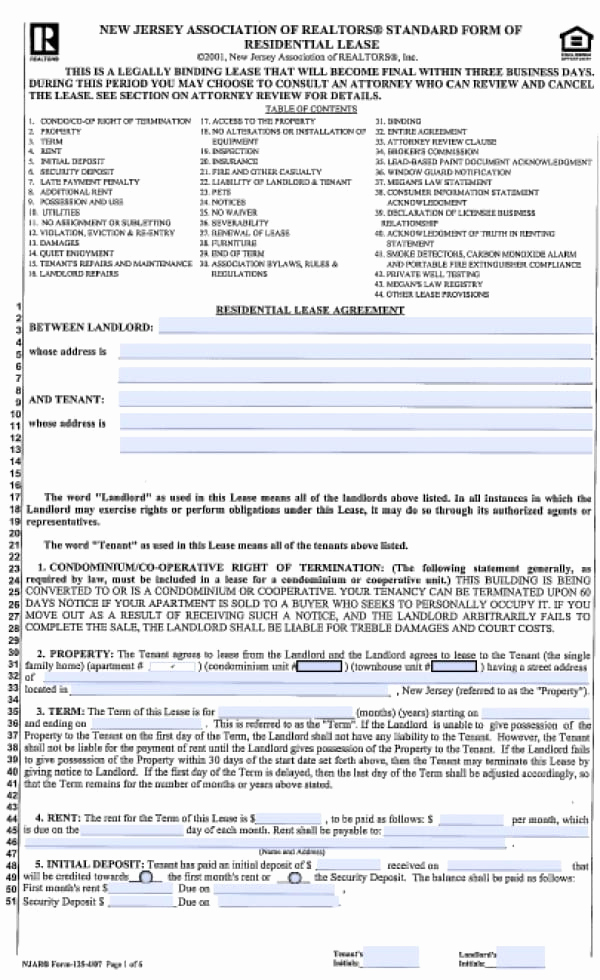 Residential Rental Agreement form Beautiful Free New Jersey Standard Residential Lease Agreement 1