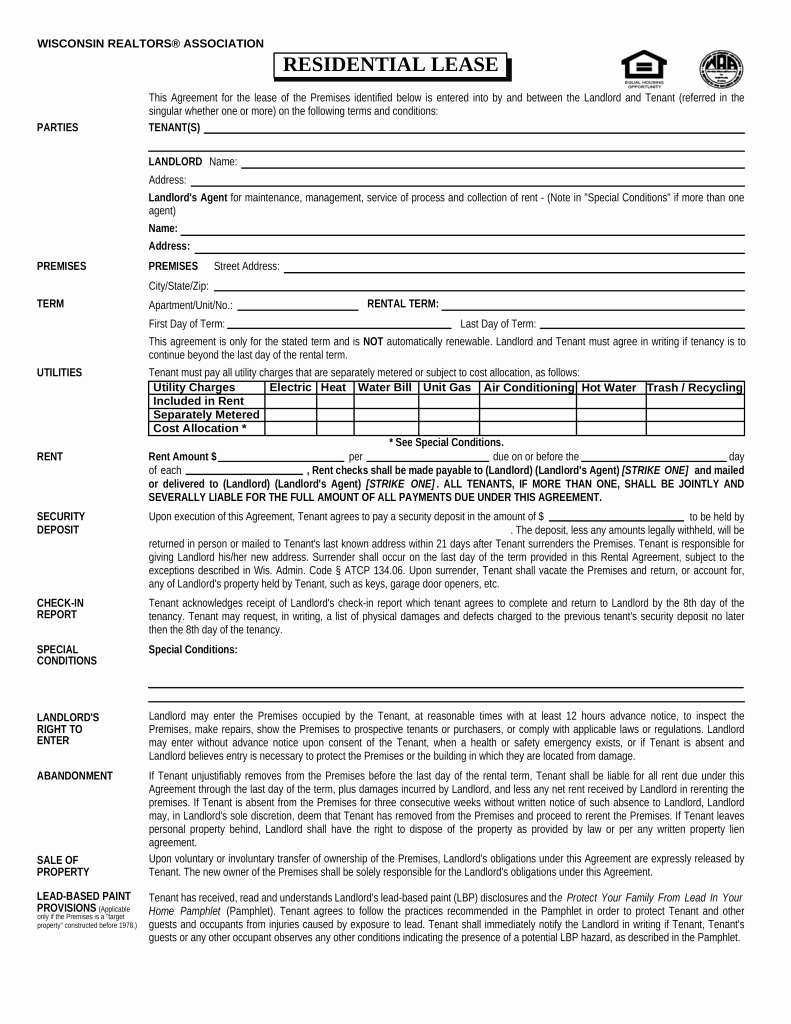 Residential Rental Agreement form Fresh Free Wisconsin association Of Realtors Residential Lease