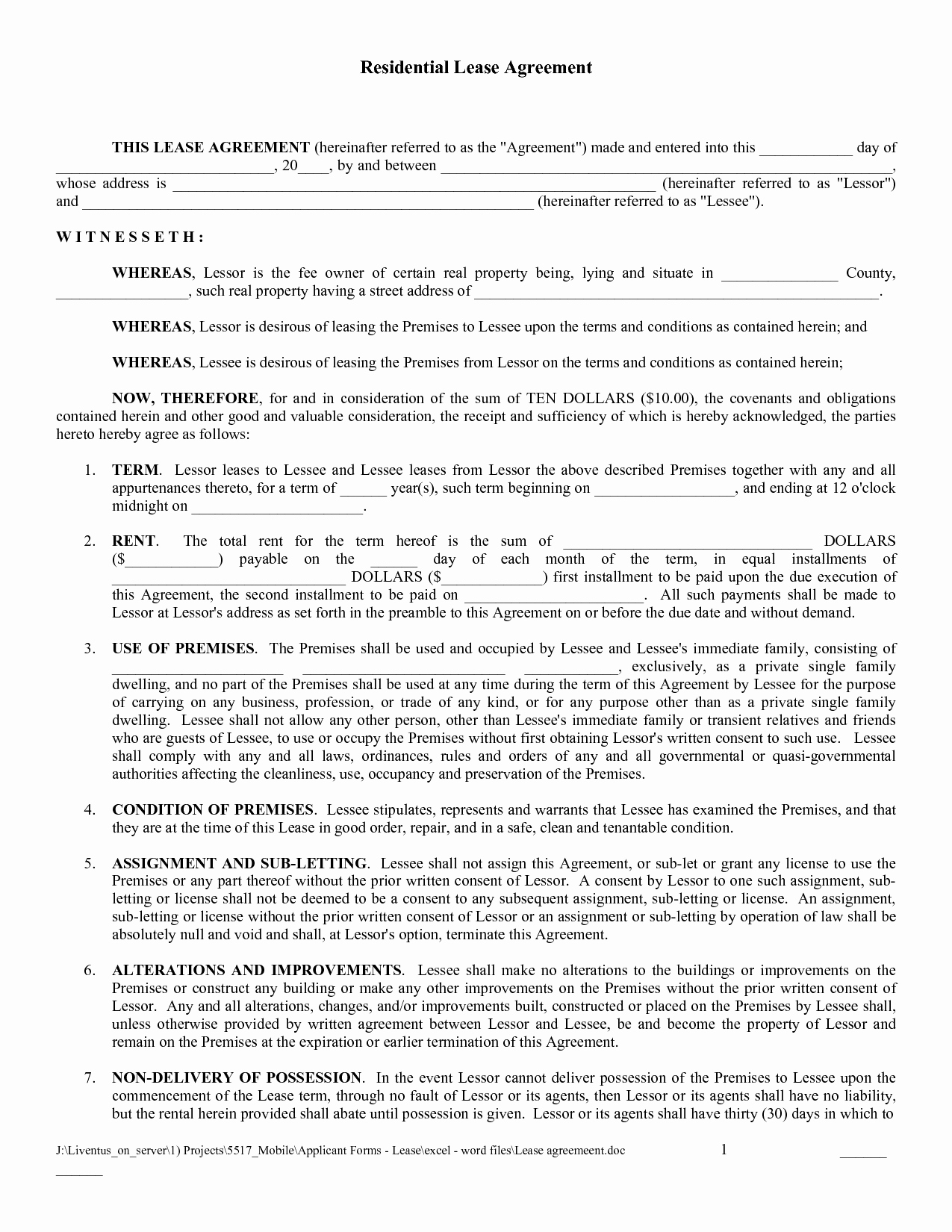 Residential Rental Agreement form Inspirational Free Copy Rental Lease Agreement