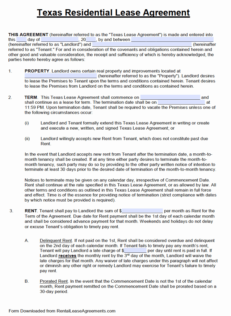 Residential Rental Agreement form Inspirational Free Texas Standard Residential Lease Agreement Template