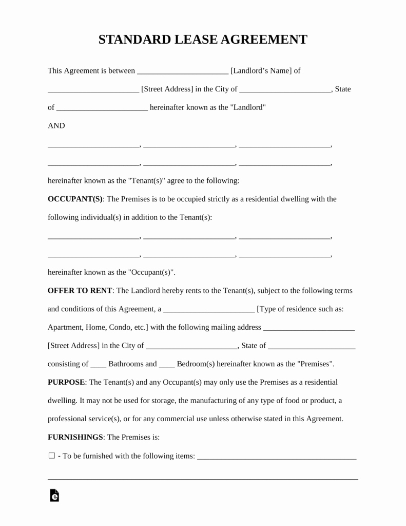 Residential Rental Agreement form Luxury Free Standard Residential Lease Agreement Template Pdf