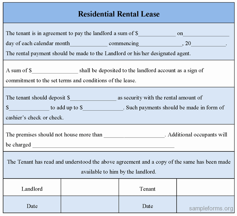 Residential Rental Agreement form New Residential Rental Lease form Sample forms