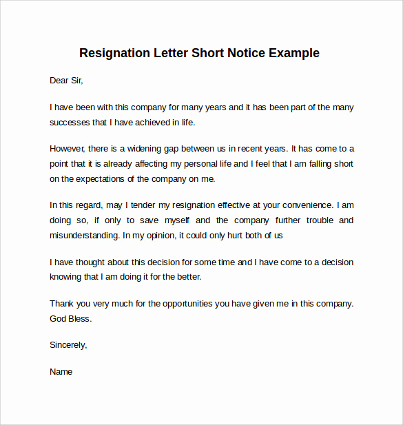 Resign Letter Short Notice Awesome Sample Resignation Letter Short Notice 6 Free Documents