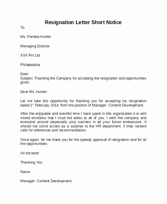 Resign Letter Short Notice Beautiful Leaving Notice Template – Jdshort