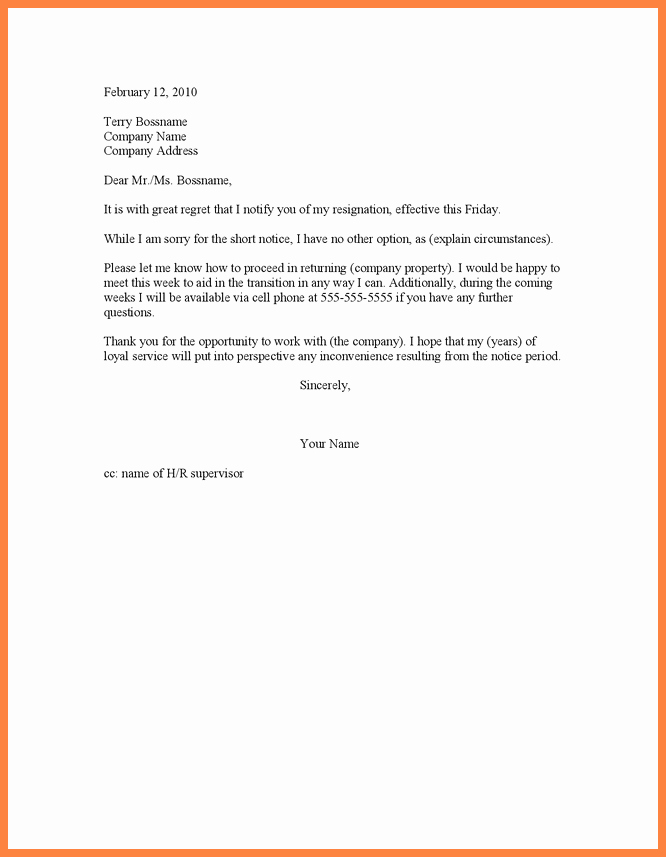 6 sample of short notice resignation letter