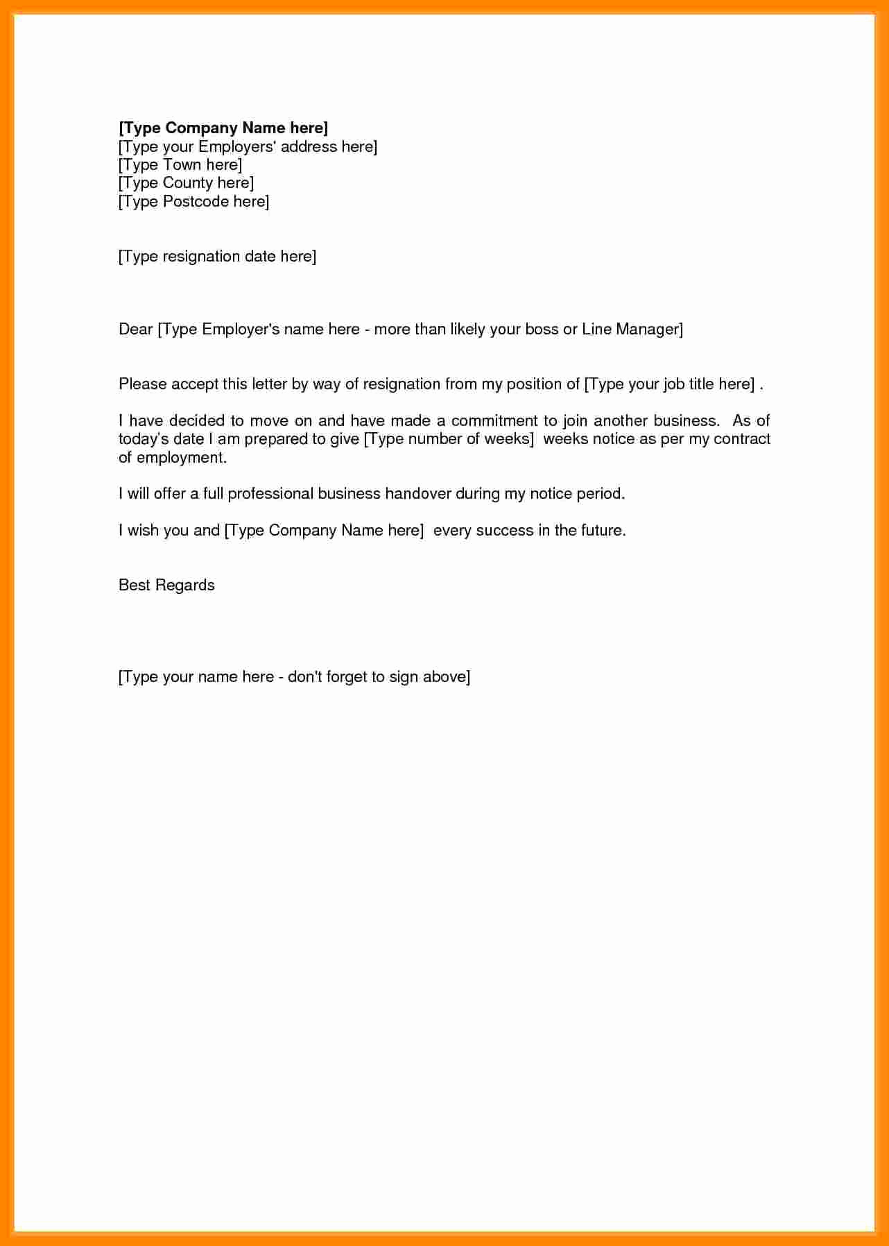 Resign Letter Short Notice Lovely 7 Resignation Letter Short Notice