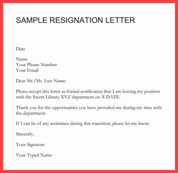 Resign Letter Short Notice Lovely Short Letter Of Resignation