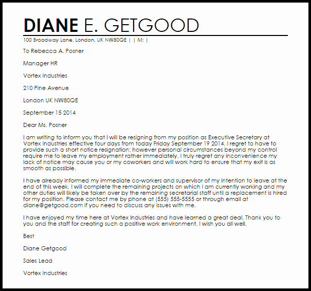 Resign Letter Short Notice Lovely Short Notice Resignation Letter Example