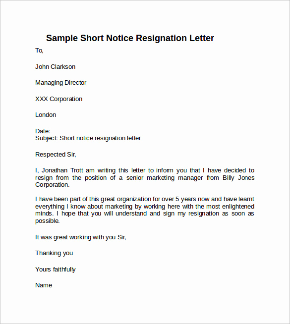 Resign Letter Short Notice Unique Sample Resignation Letter Short Notice 6 Free Documents