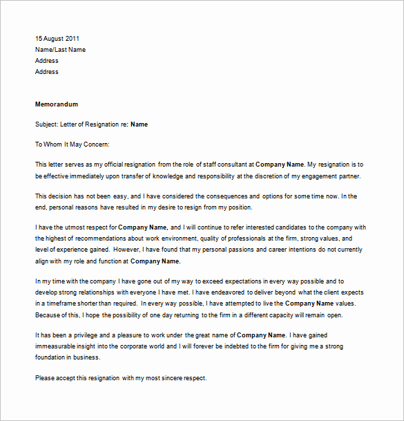 Resignation Letter Personal Reasons Awesome 12 Simple Resignation Letter Templates Pdf Doc